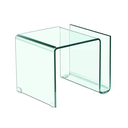 KITKAY Mesita, Mesa Auxiliar de Cristal Transparente doblado con revistero