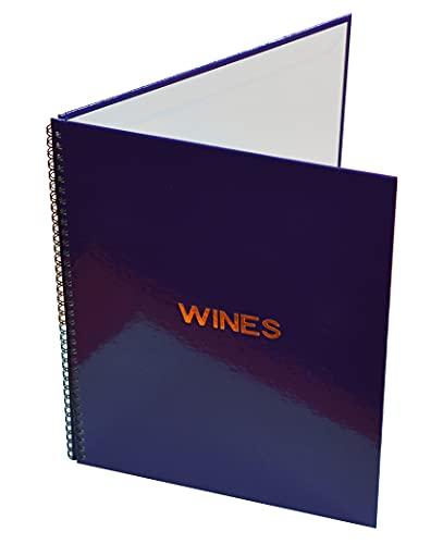 Rilegraf carta dei vini, formato A4, realizzata con cartone robusto da 2mm e rivestita in carta plastificata. Disponibile in 3 colori e venduto singolarmente (Nero)
