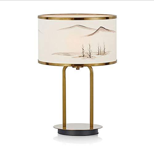 KK Timo Lampara Panorama Creativo Moderno Estilo Chino Lujo Luz Pattern Pintura Lámpara De Mesa De Salón Lámpara De Metal Cabecera del Dormitorio 36 * 51cm