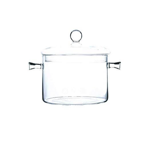 LINGZHIGAN Casserole en verre transparente résistante à la chaleur de ménage de Wok de cuiseur de Wok (Capacité : 1500ml)