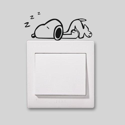 2X Niedliche Home Snoopy in ein Nickerchen Schöne Muster Licht Schalter/Steckdose Aufkleber Schalter/Steckdose Dekoration Vinyl Decor Aufkleber Schalter/Steckdose Art