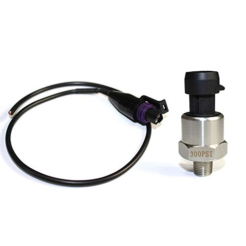 Stainless Steel Pressure Transducer Sender Sensor for Oil, Fuel, Air, Water (300psi)