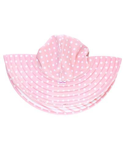 RuffleButts Baby/Toddler Girls Pink Polka Dot and Pink Stripe Reversible Swim Hat - 0-12m