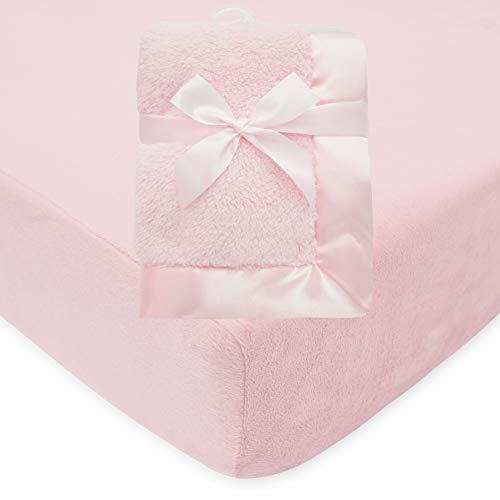 American Baby Company Heavenly Soft 2 Piece Chenille/Sherpa Sheet & Blanket Set for Girls, Pink