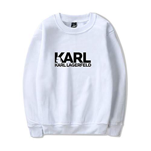 WONS Sweatshirt Karl Lagerfeld Karikatur Gedruckt Sweatshirt Beiläufig Lose Kapuzenpullover Unisex Einfach Mode/Weiß/XS