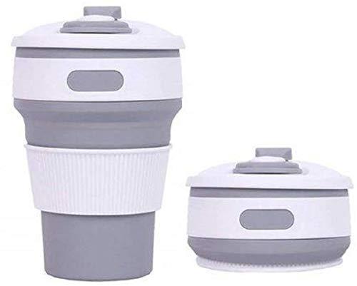 Copo Silicone Retrátil Dobrável Térmico Chá Café Bolsa 350ml Cor: Cinza
