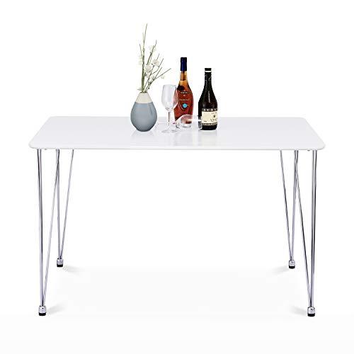 Mesa de comedor rectangular de metal plateado para comedor y cocina, diseño simple