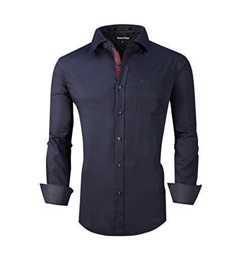 Camisa masculina casual King de manga comprida sem rugas e ajuste regular, Regular Fit Navy, X-Large