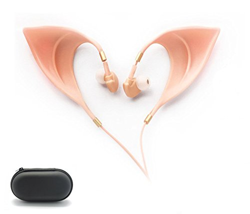 Elf Earbuds Headphones - Elegant Elves Ear Design Ultra-Soft Corded Earphone Perfect Sound Quality Fairy's Adorable Cosplay Headset Spirit Costume Accessories