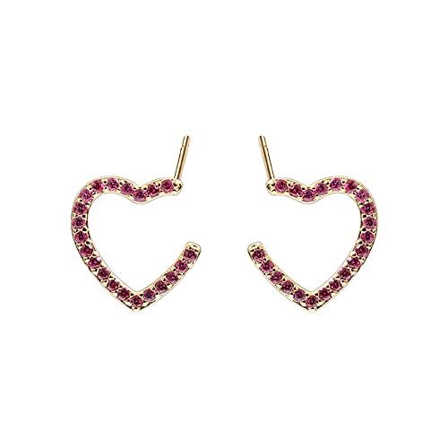 Pendientes de aro para niñas de plata de ley 925 con circonita roja