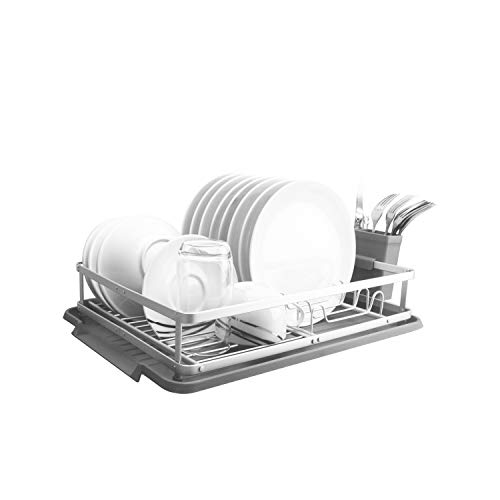 Evelyne GMT-10333 Aluminum Dish Drying Rack with Utensil Holder - Kitchen Countertop Rust Proof Dish Rack and Drainboard Set - Compact Dish Organizer Rack
