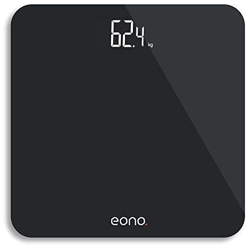 Amazon Brand - Eono Bilancia Pesapersone Digitale, Con Sensori Ad Alta Precisione e Vetro Temperato, Ultrasottile, Per il Bagno, Peso in stone/kg/libbre - Garanzia 15 anni,Nero