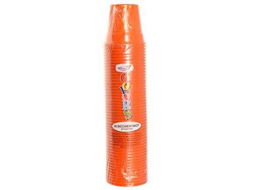 Dopla 22340 Colors Stylmagic Confezione 50 Bicchieri, Plastica, Arancio, 8 cl, Arancione, unità