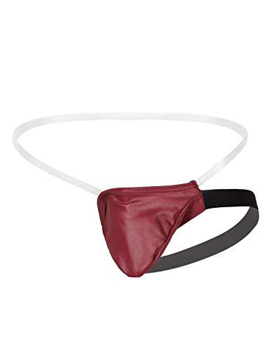 YiZYiF Herren Strings Tanga Ouvert-Slip Transparent Micro Mini Slip Erotik Dessous Beutel String Männer Unterwäsche Slips S-XL Rot X-Large