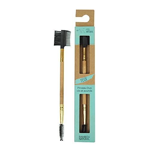FEEL NATURAL - Pinceau maquillage - DUO CILS ET SOURCILS - yeux - bambou naturel - Fibres ultra douces - écologique et responsable