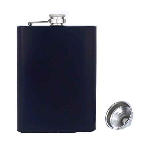 Edelstahl Flachmann und Trichter, 8oz.227 ml Schwarze Flasche,Hip flask von Alkohol, Whisky, Rum und Wodka | Geschenk für Männer