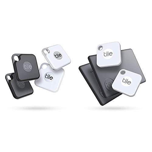 Tile Pro (2020) Bluetooth Schlüsselfinder, 4er Pack, 120m Reichweite, 2xschwarz,2xweiß & Mate + Slim Combo (2020) Schlüsselfinder - inkl. Community Suchfunktion, iOS und Android App