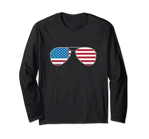 Biden 2020 Aviators Vote Biden Aviator Gafas de sol bandera de Estados Unidos Manga Larga