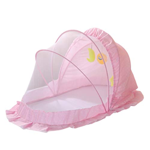 Mosquito net bed Safety Pop up Tent–See Through Crib and Nursery Soft Mesh Cover,Foldable Mosquito net for Mosquito Bites and Falling Protection for Infant,Pink,100 * 56 * 60CM