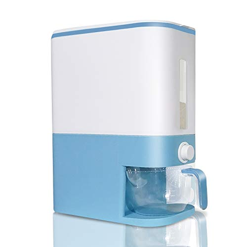Rice Storage Container- Large Cereal Dry Food Storage Box Measurable Rice Cylinder Automatic Rice Dispenser Grain Storage Bin Household Rice Bucket with Lid and Measuring Cup Blue
