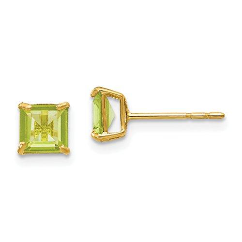 14k Yellow Gold Peridot 5mm Square Post Earrings