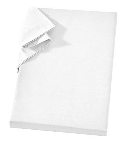 Carpe Sonno Griffiges Linonleintuch ohne Gummizug 240 x 260 cm Weiß 100% Baumwolle Vielseitiges Strandtuch Tischdecke Sofa- und Sessel-Überwurf Linonüberwurf Linonhaushaltstuch Linon Bettlaken