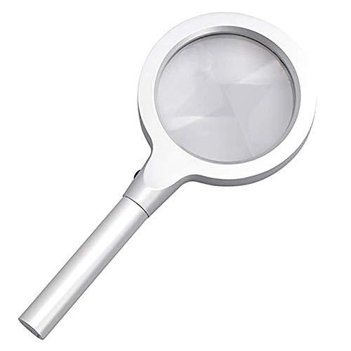 LHQ-HQ Vidrio Vidrio - óptico marco grande de la lente de la aleación de alta potencia Handheld de la lupa con luz LED de alta definición lupa mayores de la lectura ampliada Espejo Niños lupa Herramie