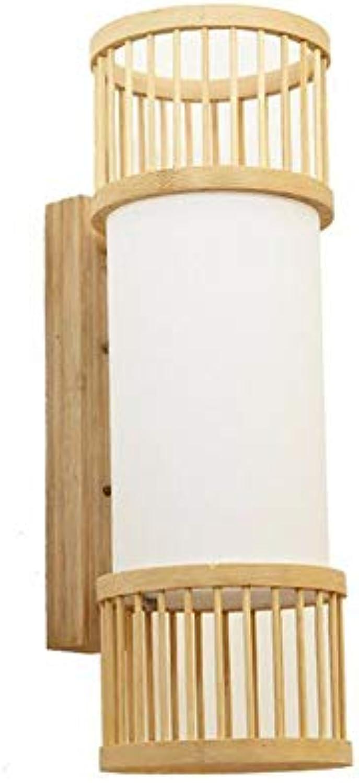Belief Rebirth Wooden Lantern Wandleuchte, Bamboo Wood Hand-Walled Wandleuchte - Nordic Style Decorative Lights Wandleuchte für Wohnzimmer, Flur, Treppe, Hotel, Schlafzimmer, E27 Sockel