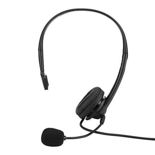 Call Center Headset, Single Side Monaural Headset with Artificial Leather Ear Cushion Adjustable Headband TK Connector for Two-Way Radio
