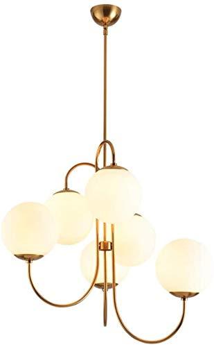 Alivisa Suspensión nórdica E27, 6 Luces de la lámpara Moderna Sputnik Globo desván 79x63cm 6 Luces