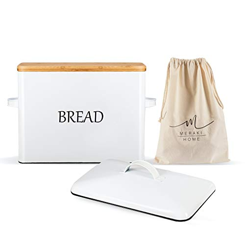 Vintage Bread Box for Kitchen Countertop - Metallic Lid - Bamboo Lid - Large Bread Storage 13''x9.5''x7'' Holds 2+ Loaves - Bread Bin Ventilation Holes - White Bread Box - XLarge Organic Cotton Bag