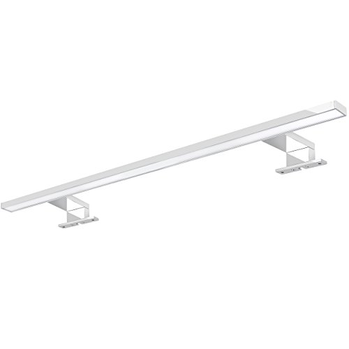 XXL LED Spiegelleuchte Badleuchte 60cm chrom glänzend mit 9W IP44 als Aufbauleuchte für den Badezimmer Schrank in kaltweiß
