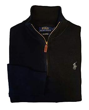 Polo Ralph Lauren Men s Textured 1/2 Zip Pima Cotton Mock Neck Pullover Sweater  Small Jet Black  1 /Madeira