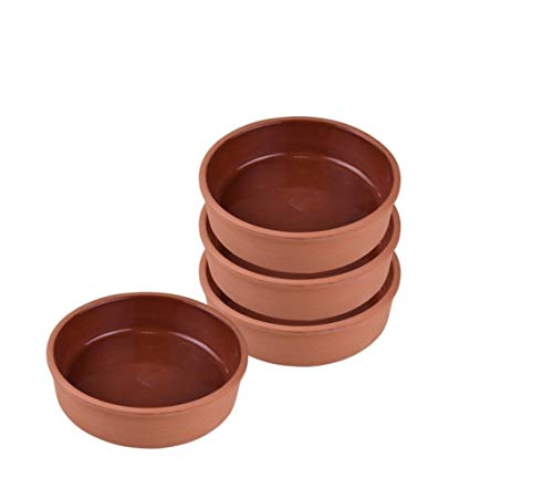 Handmade Cooking Clay Bowl Set of 4, Terracotta Bowls, Ancient Pottery, Large Clay Bowl for Food, Turkish Clay Yogurt Pots, Earthenware Pottery for Mexican Dishes, 5.7 in