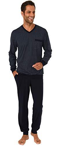 Normann Herren Pyjama Schlafanzug lang mit Bündchen - auch in Übergrössen bis Gr. 70-191 101 90 518, Farbe:Marine, Größe2:56