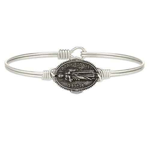 Luca + Danni   Saint Jude Bangle Bracelet For Women - Silver Tone Size Petite Made in USA