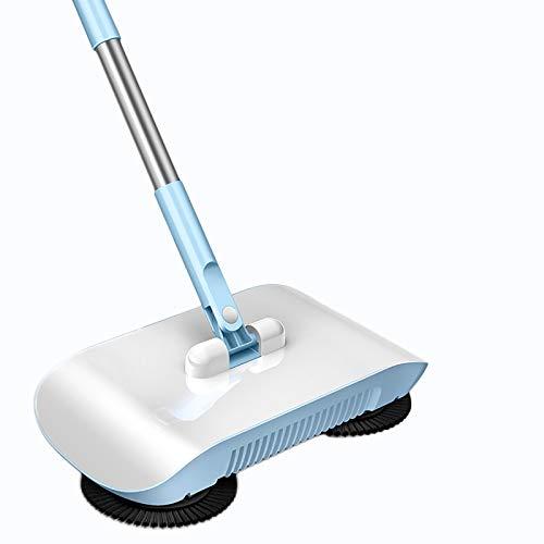 SATSAT Hand Push Sweeper Indoor, Aufrecht Hand Push Sweeper, Handheld Floor Sweeper, 360 ° Spinnbesen, Mechanische Kraft, Kein Strom Wischt Den Boden,Blue