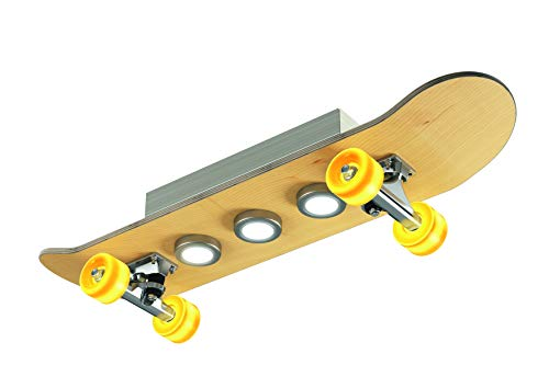 Evotec LIGHT CRUISER LED Skateboard Deckenleuchte 7-flg / 15W / 2700K / 1515 Lumen, Holz, 15 W, Transparent, Small