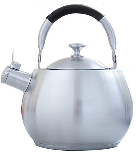 HYY-YY Acero Inoxidable Hervidor de Calidad alimentaria Silbato de Dos Fuegos de Gas Estufa de Gas Cocina de inducción Inferior con hervidor de Uso en el hogar de ebullición (Tamaño: 3.5L)