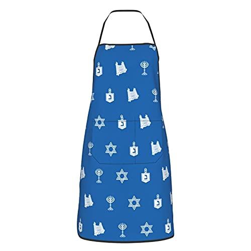 Gavikiss Cooking Kitchen Aprons, Hanukkah Motif Blue Adjustable Bib Apron for Men and Women