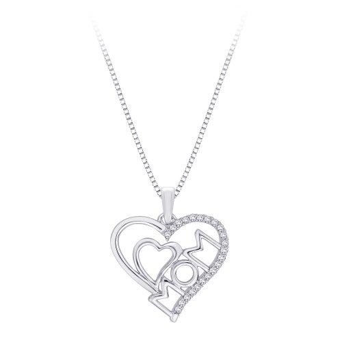 Plata de Ley, Diamond 'mamá Collar con colgante de corazón doble (1/10CTTW)