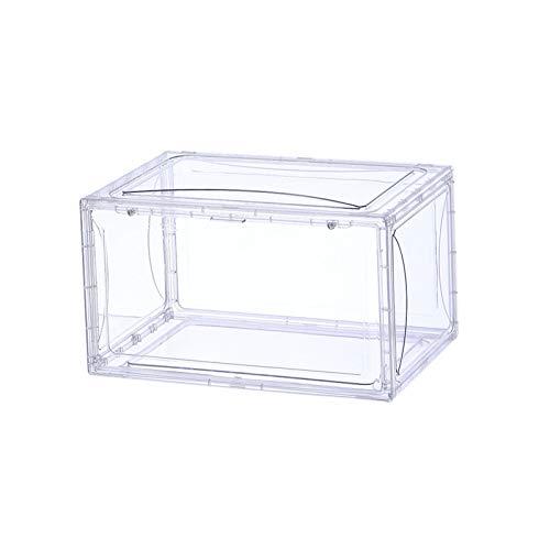 Caja de zapatos de plástico transparente apilable, organizador de zapatos, caja de almacenamiento para zapatos para hombre o mujer, fácil de montar a prueba de polvo puerta lateral (M)