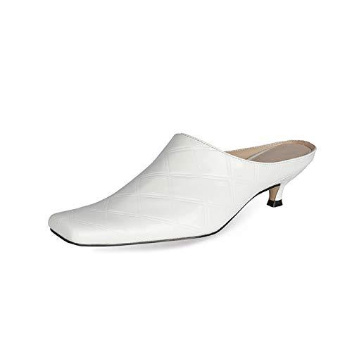 Bewinch Zapatos Tacón Mujer, Pequeñas Y Cuadradas, Cortas Y Cómodas, para Mujer, Altura del Tacón 4,5 Cm para Fiestas, Compras, Ocio Diario,Blanco,EU36