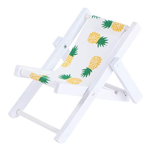 WINOMO Mini Liegestuhl Deko Holz Handyhalter Miniatur Strand Stuhl Puppenliegestuhl Strandstuhl Klappstuhl Mini- Stranddekoration für DIY Mikro Landschaft Puppenhaus Gartenmöbel Ananas