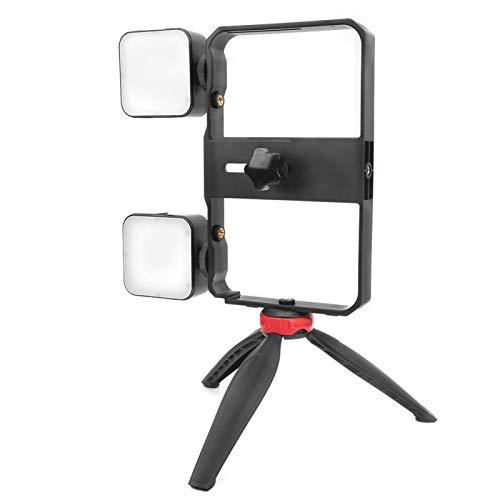 DAUERHAFT Equipado con luz de Relleno Juego de fotografía para teléfono Accesorio de fotografía Juego de luz de Relleno Temperatura de Color 6500K Fotografía Caja de teléfono con luz de Relleno, para