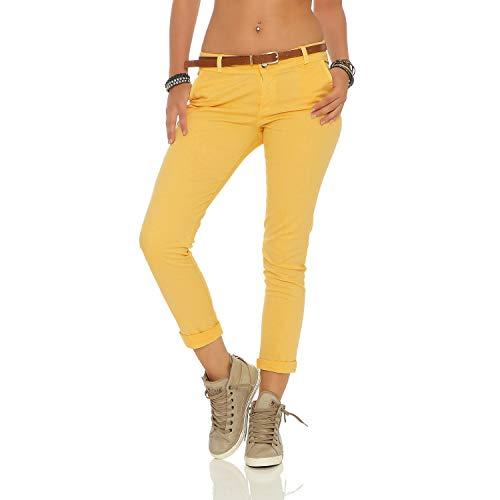 ZARMEXX Damen Stretch Röhrenhose mit Gürtel Chino Skinny Stoffhose Jeggings, Gelb, Gr. S (36)