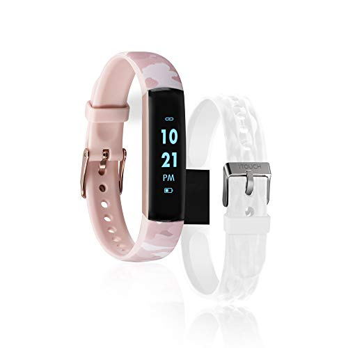 iTouch Slim Fitness Tracker with Heart Rate Monitor, Step Tracker, Calorie Tracker & Sleep Tracker. Waterproof Fitness Watch for Women & Men, Android & iOS, Blush Camo/White Interchangeable Straps