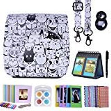 HDE Camera Case for Fujifilm Instax Mini 9 or 8/8+ Case and Accessories Kit Includes Leather Mini 9 Case and Strap Album Selfie Lens Photo Line Frames Borders Stickers Pen & More (Cats)