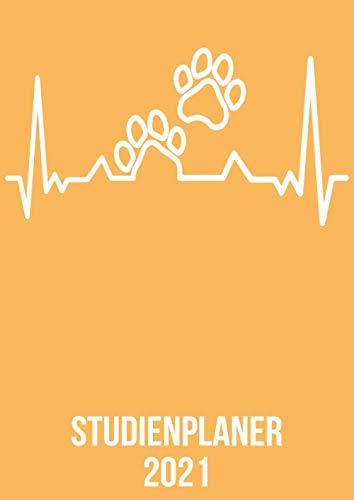 Studienplaner 2021: DIN A4 Kalender von 01/2021 - 12/2021 1 Tag = 1 Seite mit großem Tageskalender und großartiger Übersicht. Monatsübersicht, ... / Tierpfote Hund Katze heartbeat herzschlag