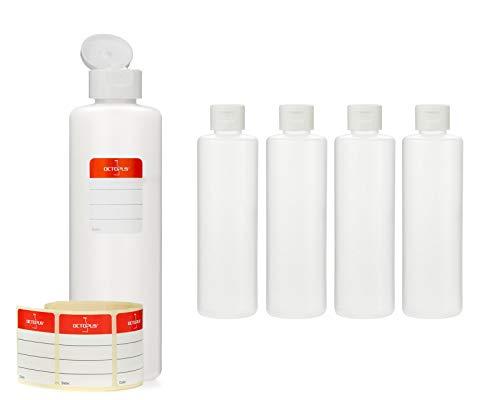 Octopus 5 x 250 ml Kunststoffflaschen, HDPE Plastikflaschen mit weißem Klappverschluss, Leerflaschen mit weißem Scharnierverschluss, Rundflaschen inkl. Beschriftungsetiketten